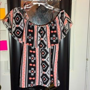 Black & Hot Pink Aztec Top